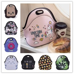 dessert animals 2019 - Multicolor Cute cartoon print Neoprene Lunch Box Bag emoji animal maple dessert 3D printing picnic bag for kids and adul