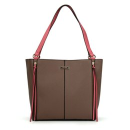 China Sally Young Casual Woman Handbags Fashion Simple Handbags Brand Designer Totes Two-tone Shoulder Bags PU Leather SY2118 supplier camel leather tote suppliers