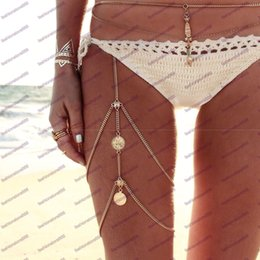 Thigh jewelry online shopping - 2017 Boho Hamsa Hand Coin Thigh Chains Summer Sexy silver and Gold Color Body Belly Leg Harness Chains Women body Jewelry