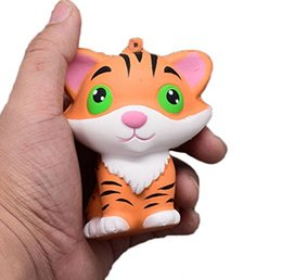 stress relieving gifts Canada - Slow Rising Squishy Tiger Squeeze Jumbo Stretch Cream Scented Kawaii Vent Toy Relieve Stress Cure Kid Gift Phone Straps Chain Charm