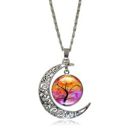 $enCountryForm.capitalKeyWord UK - New 2017 Fashion Glass Moon Statement Necklace Vintage Silver Color Jewelry Life Tree Art Picture Pendant Necklace Women