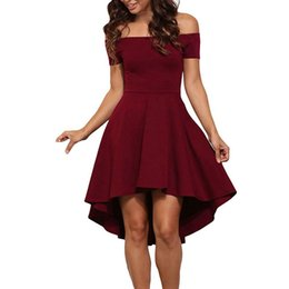 New Women Elegant Short Sleeve High Low Skater Party Wear To Work Fitted  Dress Casual Off Shoulder Swing Mini Dress Vestidos 442fef6cd