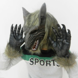 Rubber Face Mask For Halloween NZ - Halloween Horror Devil Masks Silicone Rubber Masks Party Halloween Wolf Mask & Wolf Gloves For Halloween Party