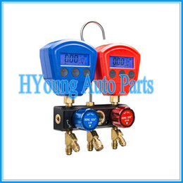 Hose Systems Canada - Digital manifold gauge set with charing hose LCD Digital Dual Refrigerant Table Valve High and Low Refrigerant
