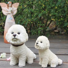 Carved Figures Canada - Hot Sale British Bichon Frise Resin Dog Figure Hand Carved Puppy Statue 6.3 Inches Art Crats for Dog Lover