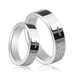 $enCountryForm.capitalKeyWord Canada - Couples Pipe Cut tungsten prayer ring Classical Jewelry Finger ring for men and women black plated and cross prayer words engraved