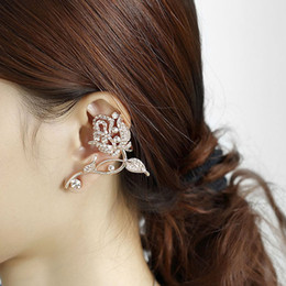rose gold clip earrings NZ - New Elegant Fashion Rhinestone Rose Stud Earring Flower Brooches Earrings Gold Plated Ear Cuff Clips for Women Party Jewelry Gifts