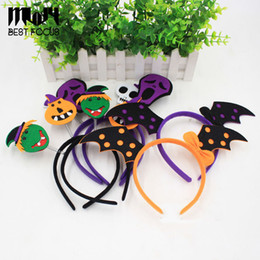 plastic skeleton heads NZ - 2017 Halloween Headband Furry Devil Cat Head Hoop Fine Hair Ornaments for Girl Skeleton Hair Accessories Headwear Sexy Hair Band 20pcs lot