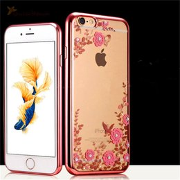 secret iphone 2019 - Luxury Bling Diamond Electroplate Case Secret Garden Flowers Transparent Soft Tpu Cover For iphone 5s se 6 6s plus 7 8 p