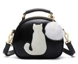 full color printing leather Canada - 10pcs 2017 Women Makeup Bags Crossbody Bag For Women PU Leather Cosmetic Bags Full Moon Candy Color Cute Cat With Fur Ball