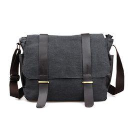 China Wholesale- Designer Briefcase Men Messenger Bags Vintage Canvas Shoulder Bag Mens Buisness Bag Attache 14 inch Laptop Case Office Briefcase cheap canvas cell phone cases suppliers