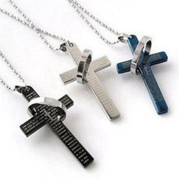 Chinese  MIC FIBO STEEL Stainless Steel Mens Womens Bible Cross charm Pendant Necklace, 3 Colors Available manufacturers