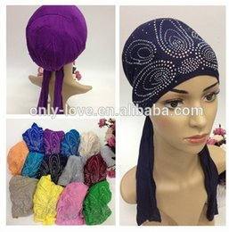 jersey cotton scarf 2019 - Wholesale- (20 pieces lot) 2016 jersey cotton crystal tie back underscarf,rhinestones muslim hijab caps SYF118 cheap jer