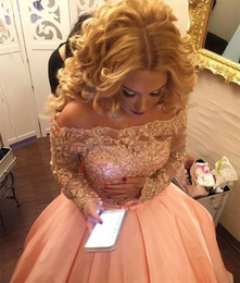 Pink Lace Pearl Collar Dress Canada - Blush Pink Ball Gown Prom Dresses with Long Sleeves 2017 Luxury Beaded Lace Stain Off-shoulder Dubai Arabic Occasion Formal Evening Wear