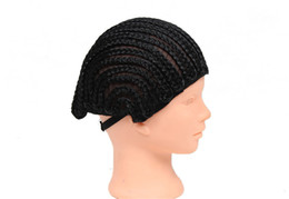 Crochet Wigs UK - Knitting braided 2017 free shipping Braided Cap Cornrow Croceht Wig 70g Black Synthetic Made for Crochet Braids protectif Style for Women