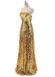 Strapless Sequin Red Dress UK - Shimmering Sequin Lace Strapless Neckline A-Line Prom Dresses Bling Bling Gold Evening Dress vestidos largos fiesta