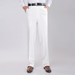 Entreprise Plus Mince Taille Pas Cher-Wholesale- 2017 Mode Hommes Forme Formal Simple Slim Fit Pantalon Blanc Long Business Pantalon Mid Waist Straight Easy Care Dress Pants 2M0029