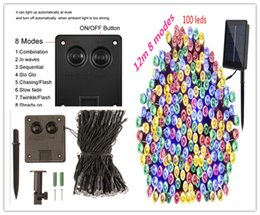 discount custom led christmas lights facrtory custom 12 m 100 led 8 modes solar powered string