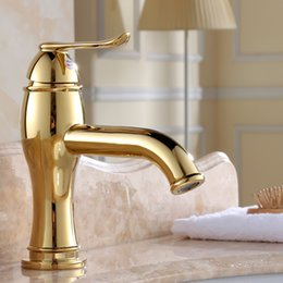 Gold Single Handle Sink Mixer Tap Bathroom Faucet European Style Antique  Single Hole Wash Basin Faucet Polished Tap