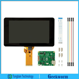 Inch Tft Lcd Display Canada - Freeshipping Original Official Raspberry Pi 7 Inch TFT LCD Touch Screen Shield Monitor Display + Acrylic Base Holder   Stander Kit