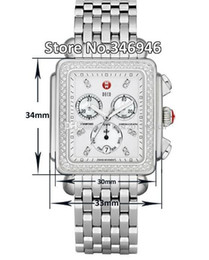 Großhandel kostenloser Versand Michele Signature DECO Diamanten MOPP Diamant Zifferblatt Uhr Damen MWW06P000099