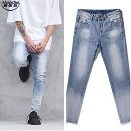 Patchs De Jeans Design Pas Cher-Wholesale- Man si Tun 2017 Fashion Casual Patches Jean Pants Rockstar Moto Rock City Bleu 424 Designer Acid Wash Jeans skinny pour hommes 30-36