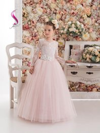 Robes De Concours Prix Bas Pas Cher-Best Selling Ball Gown Long Sleeve Sweep Train Tulle Lace Pageant Robe fille Robe bas prix Communicate Flower Girls Gown