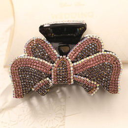 Crystal Plastic Hair Clip Australia - Hot Bowknot Barrettes with crystals and diamonds Bling Bling Clamps Japanese Korean style Hair clips Luxury Rhinestone Swarovski Jewerly