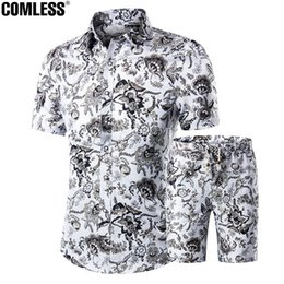 c3f3ef2af29 Wholesale- Two Piece Shorts Men Sets Shirts+Shorts Summer 2016 New Fashion  Short Sleeve Slim Shirt Ten Printing Designs Mens Clothing M-5XL