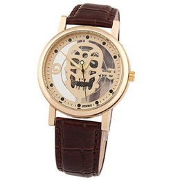 Brand Luxury Style Watch UK - Fashion Cool Style Men watch Luxury watches Brand Skull Analog Dial Leather Strap Business Causal Quartz Wristwatch For Men gift 2017