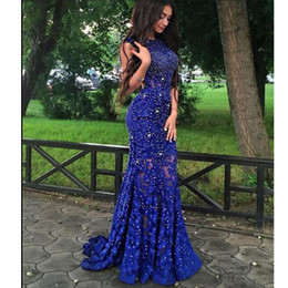 $enCountryForm.capitalKeyWord Canada - Robe de soiree Royal Blue Lace Mermaid Evening Dresses Long 2019 Beaded Backless Prom Gowns Fast Shipping