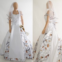 2018 newest snow white camo wedding dresses sweetheart real tree timber ball gown wedding dresses country cowgirls bridal dresses
