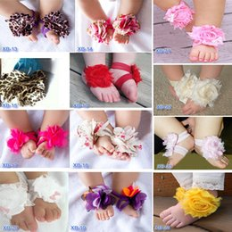 BaBy girls foot accessories online shopping - 2017 Hooyi Chiffon Floral Baby Girls Foot Flower Children Accessories Newborn Shoe Wristband Elastic Hair Sock Sandal Slipper F5
