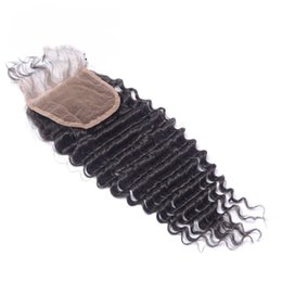 $enCountryForm.capitalKeyWord Australia - Brazilian Deep Wave Lace Closure With Baby Hair Unprocessed Virgin Human Hair Top Closure 4*4 Bleached Knots Free Middle 3 Way Part