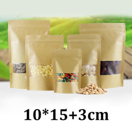 $enCountryForm.capitalKeyWord NZ - 10x15cm frosted transparent plastic window resealable zipper stand up doypack brown kraft paper dried fruits bags for nuts