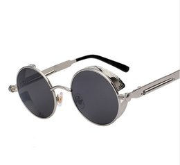 Chinese  Round Metal Sunglasses Steampunk Men Women Fashion Glasses Brand Designer Retro Vintage Sunglasses UV400 Stars Rihanna Same Items manufacturers