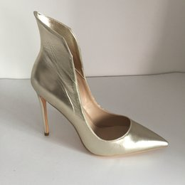 $enCountryForm.capitalKeyWord NZ - Fashion Bridal Wedding Shoes Light Gold Soft Leather Custom Made Plus Size High Thin Heels Women Pumps Pointed Toe Ladies Party Shoes Sexy