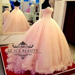 Wholesale Blush Pink Sweet Robes Quinceanera Puffy Ball Gowns Long Demoiselle Appliques Beaded Real Photos Party Prom Plus Size