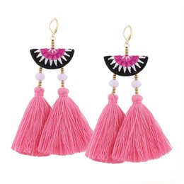 $enCountryForm.capitalKeyWord UK - 3 Colors pom pom Cotton Tassel Earrings Fashion Statement Drops Earrings For Women Embroidery Fringing Earrings Wholesale
