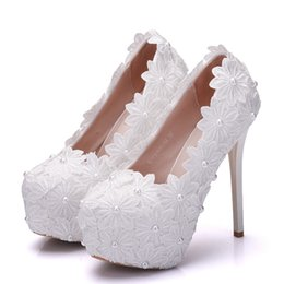 beautiful wedding dance shoes Australia - Crystal Queen New Platform Beautiful Pearl Lace White Wedding Shoes Women Pumps Party Dance Sexy High Heeled Shoes 14 CM