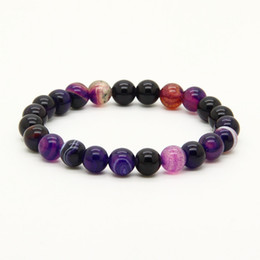elastic beaded bracelets wholesale 2019 - Mix Colors Wholesale 10pcs lot 8mm Good Quality Blue, Purple, Pink Bandard Agate Stone Beads Energy Elastic Bracelets di