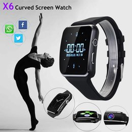 $enCountryForm.capitalKeyWord Australia - Smartwatch Curved Screen X6 Smart watch bracelet Phone with SIM TF Card Slot with Camera for Samsung android smartwatch