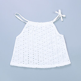 Lingerie En Coton En Dentelle Sans Manches Pas Cher-New Summer INS Baby Girls Tops Coton Lace Hollow White Tank Tops Tees Chemise sans manches Enfant Nouveau-né Vêtements pour bébé Vêtements pour enfants 574
