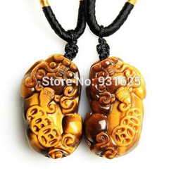 $enCountryForm.capitalKeyWord Canada - 100% Natural Tiger's Eye Gem Pendant Hand Carved Chinese Coin PiXiu Lucky Amulet Pendant + free Necklace Fine Jewelry Wholesales