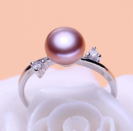 $enCountryForm.capitalKeyWord NZ - Wholesale 8-9mm white pink purple three colors oblate Natural pearl ring 925 silver JZ0036