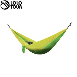 wholesale outdoor double hammock portable parachute cloth 2 person hamaca hamak rede garden hanging chair sleeping travel swing hamac