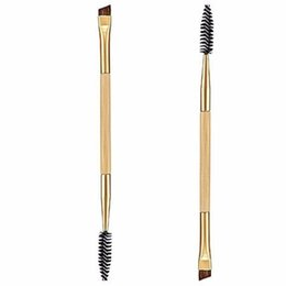 Chinese  Beauty Girl 1PCS Makeup Bamboo Handle Double Eyebrow Brush + Eyebrow Comb Eye Definer Brush Professional Small Angle Brush manufacturers