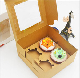 $enCountryForm.capitalKeyWord NZ - Plastic kraft and White Card Paper Cupcake Box 4 Cup Cake Holders Muffin Boxes Dessert Portable Package Box Tray Gift Favor