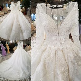 LS3377 luxury vintage ivory three quarters sleeve backless wedding dresses  pleat ball gown lace up vestido de noiva real photos 3eb64a32a0dc