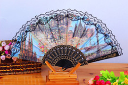 Wholesale Folding Hand Held Silk Plastic Fans Landscape character Fan Bulk for Women Spanish Vintage Retro Fabric Fans Mixed Colors quot
